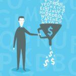 significato-funnel-marketing-vignetta-imbuto-uomo-affari